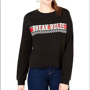 Rebellious Juniors Break Rules Cropped Sweatshirt